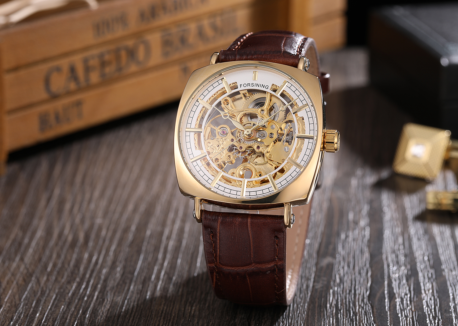 FORSINING 3 ATM Water Resistant Men Skeleton Automatic Watches With Genuine Leather
