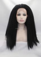 cheap price yaki black color heat resistant synthetic fibre front lace wigs