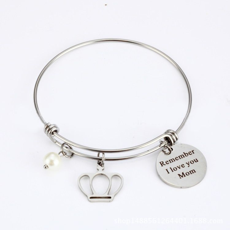 2019 Remember I love You Mom Pearl Crown Charm Stainless Steel Telescopic Bangle For Mother Gift