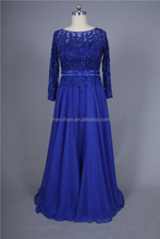 MN-E173 Women Long Sleeves Lace With Beading Top Body Dark Blue Chiffon Evening Dress