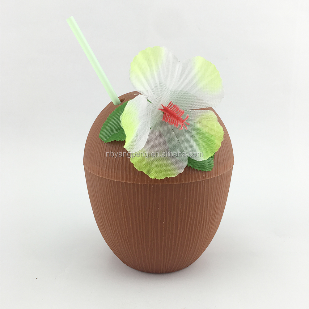 Plastic Coconut Shape Cup With Flower and Drinking Straw coconut cup