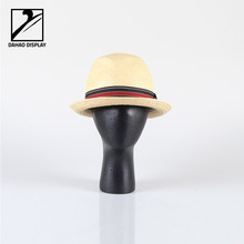 black wooden mannequin head for hat cap