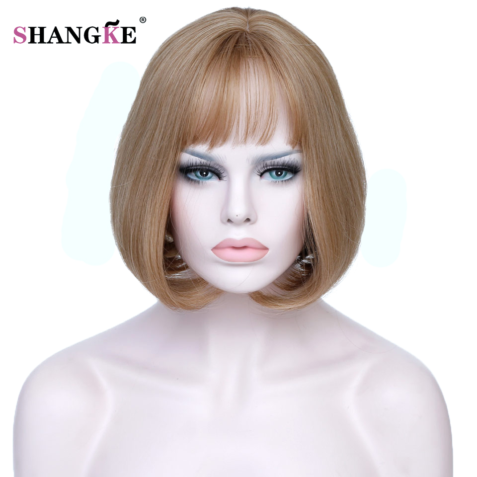 SHANGKE Short Blonde Bob Hair Wig Women Heat Resistant Blonde Synthetic Wigs For White Women Natural Fake Hair Pieces
