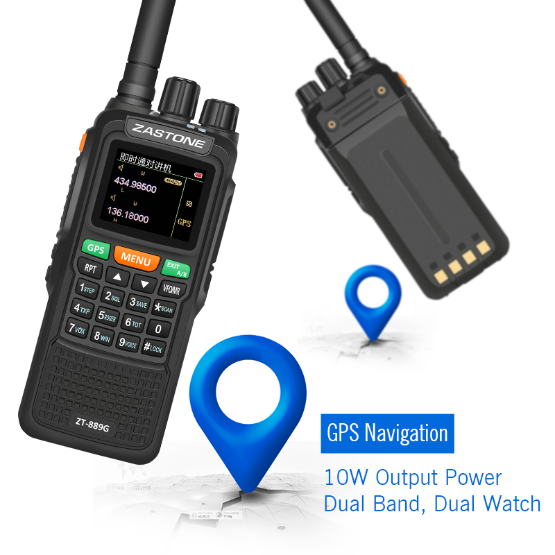Cheap and New Digital Radios Two Way Long Range Walkie Talkie With LCD And GPS Function Zastone ZT889G