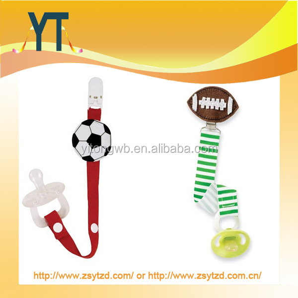 Hot Sale!Cartoon Pacifier Clip Holder Christmas Gifts/Volleyball,football ribbon chian baby pacifier clip
