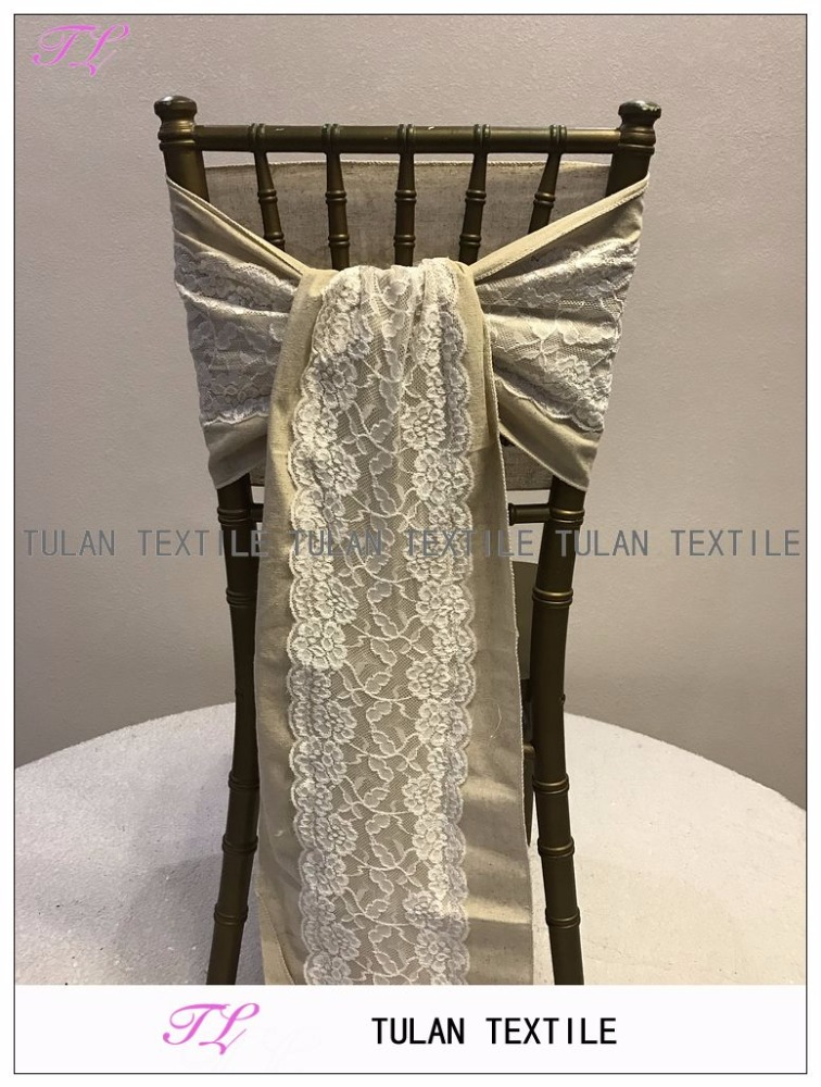 wedding linen burlap chair sash with lace for chair decoration