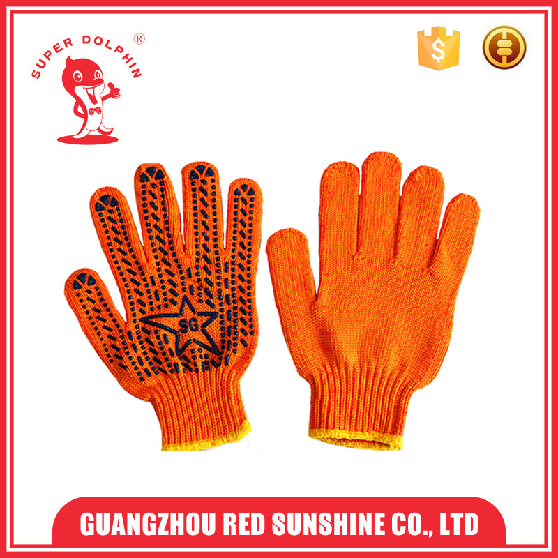 Cotton knitted working gloves with special customized PVC dot logo