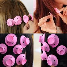 10pcs/Set Soft rubber Pink Magic Hair Care Rollers Silicone Hair Curler no clip automatic rotating silicone soft hair rolle