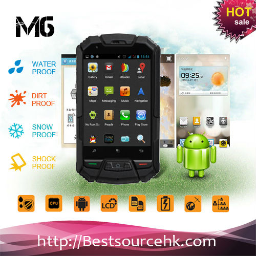 "IP67 MTK 6577 Dual core Android 4.0 Dual Sim 3.5""touch screen M6 rugged phone GPS wifi bluetooth Best military grade cell phone"