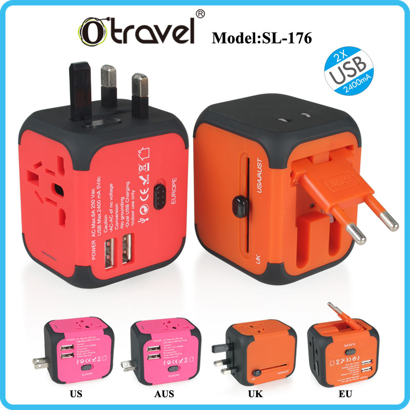 Dual USB 5V 2.4A Universal Travel Charger Wall Adapter Charging Port EU UK US AUS Plug for iPhone 5 5S 5C 6 6 plus 7