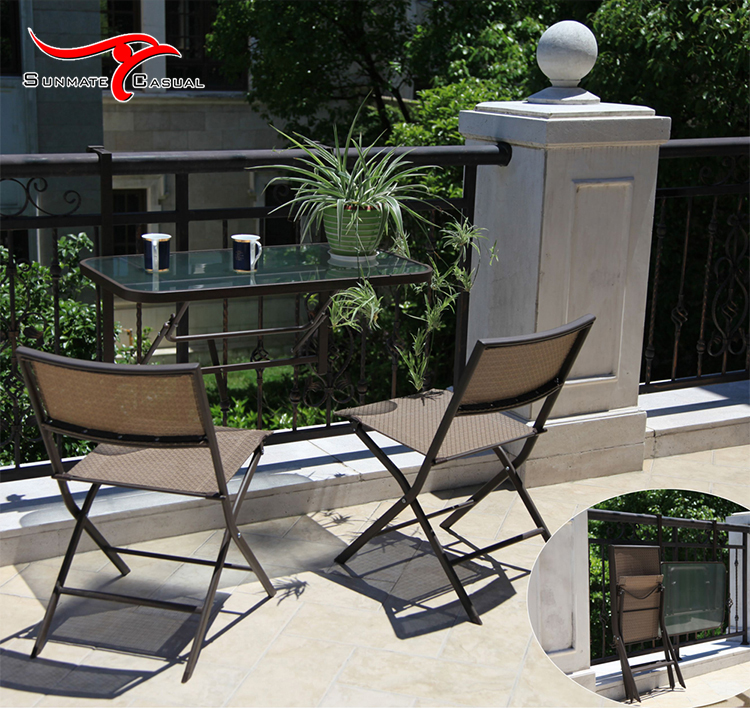 Contemporary Outdoor Patio Furniture Balcony Bar Rattan Wicker Folding Coffee Table and Chairs