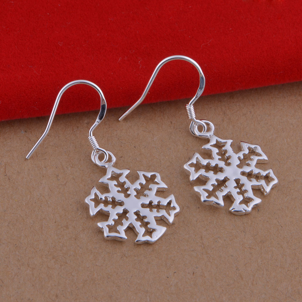 Xmas Decoration Environmental Copper 925 Sterling Silver Earrings Christmas Snowflake Earrings Wholesale