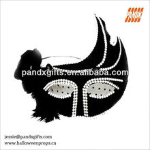 fashion black lace feather diamond masquerade mask