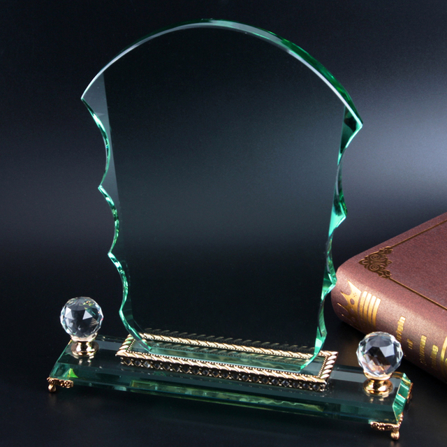 Fantasy jade glass wave awards with crystal diamonds and golden bridge