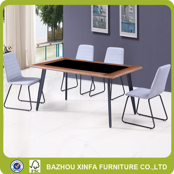 Luxury Big Rectangular Glass Insert Wooden Dining Table And Chair