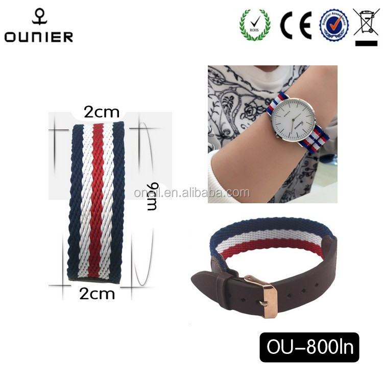 Popular products 8 mixed colors metal buckle leather nylon watch strap for watch