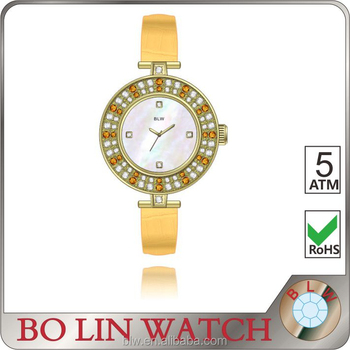 hand watch for girl/oem diamond japan movt quartz stainless steel back leather lady watch
