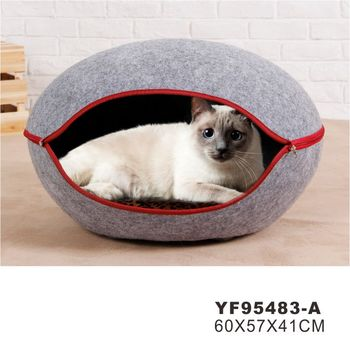 Quick Shipment Felt Cat Cave Bed With Paw Window,wool cat cave