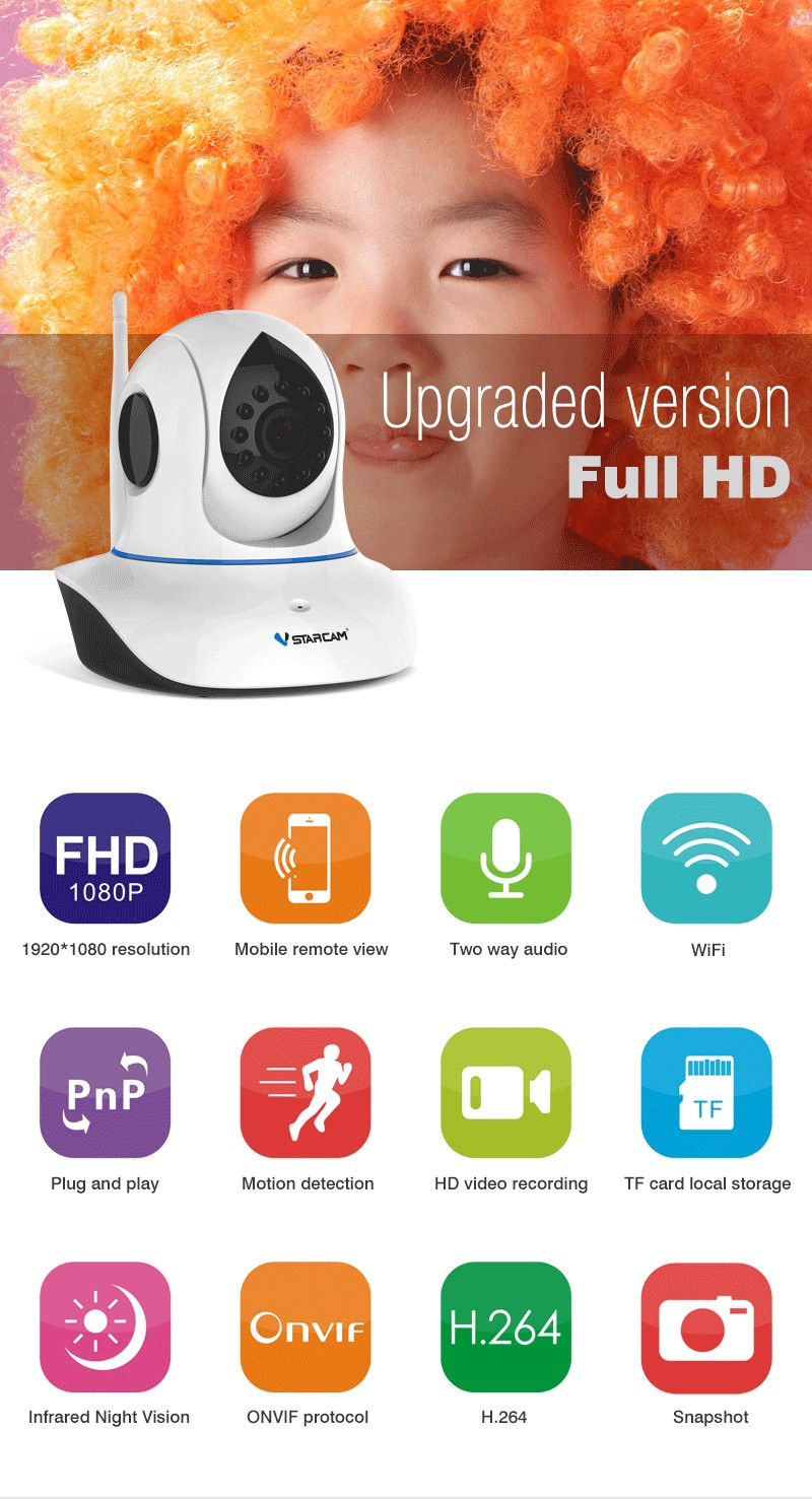 shenzhen 2016 new hot sale full hd 1080P 2.0MP wireless IP camera wifi