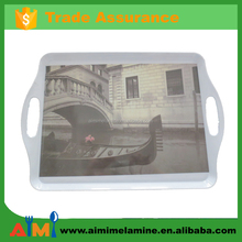 New design Product Melamine food Tray With Handles