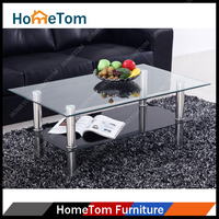 Hometom 8mm + 5mm Tempered Glass Stainless Steel Leg Modern Coffee Table