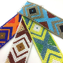 Wholesale Hot Fix Resin Bead Geometric Pattern Chain Trim With Glue