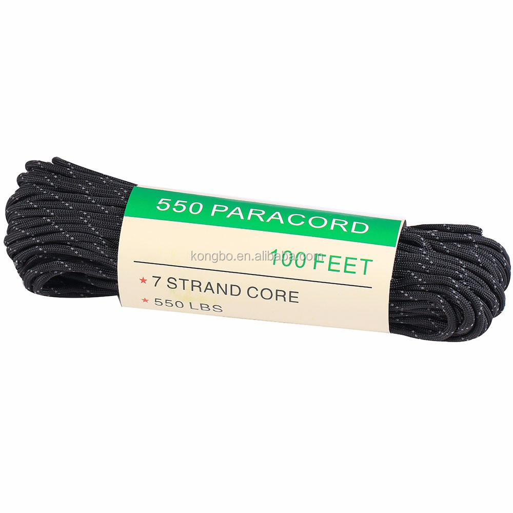 KongBo Outdoor 7 Core Parachute Cord Black Reflective Nylon 550 Paracord