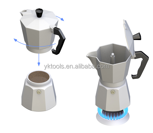 Aluminum coffee maker with LFGB