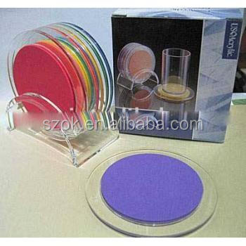 Round factory price hot selling acrylilc plastic drink coasters