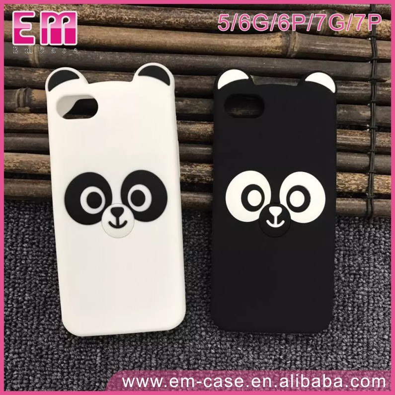 3D Cute Black And White Panda Cover Soft Silicone Cell Phone Case For iPhone5 6 6p 7 7p