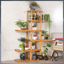 bamboo flower shelf customized flower display rack