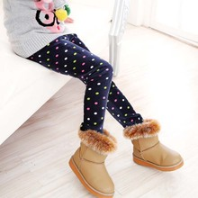 Autumn Winter Girls Thermal Elastic Pants Warm Baby Cotton Printed Leggings