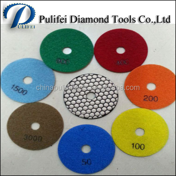 Pulifei Diamond Tools Stone Flexible Resin Bond Wet Dry Polishing Pads For Angle Grinder