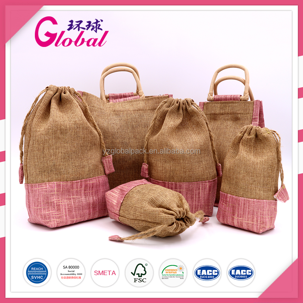 Global Natural Casual Jute Cotton Gift Bags
