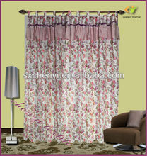 floral printed polyester curtain with valance factory direct sales