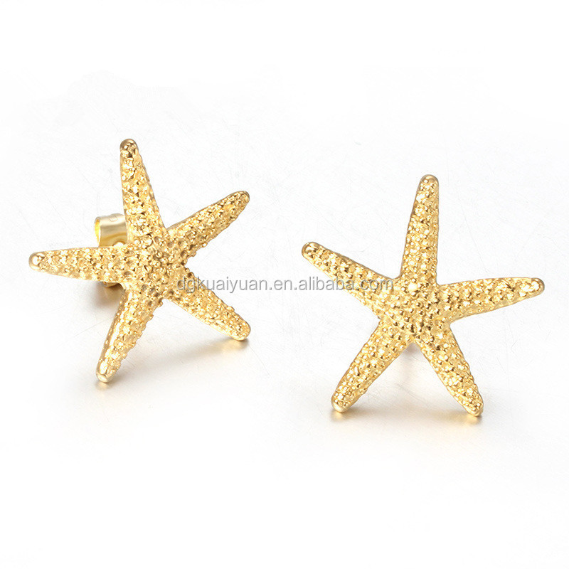 latest latest model <strong>fashion</strong> five point star starfish artificial earrings stainless steel earrings for men and women girls stud
