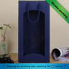 Blue ripple paper double bottle wine tote bag with rope handle