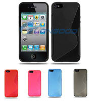 High Quality Mobile Phone Accessories S-Shaped TPU Back Case / Cover / Shell for iPhone 5 with all kinds of colors