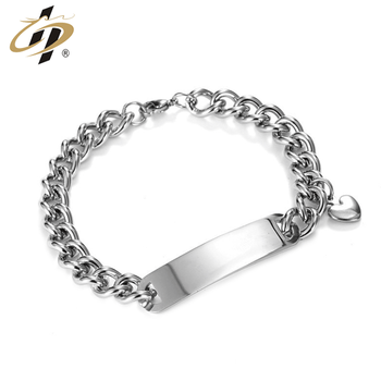 Shuanghua wholesale wedding gifts metal silver blank chain bracelet with heart charm