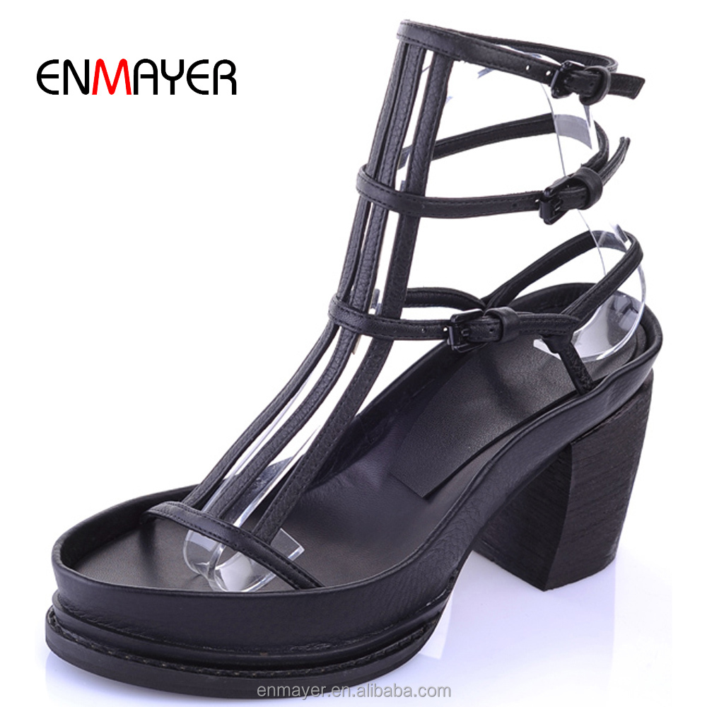 Sexy romen women fancy round toe cowhide band upper name brand chunky heel platform sandals