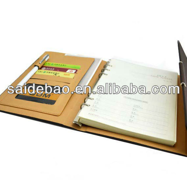 pu leather cover agenda organizer planner notebook with card/calculator/pen holder