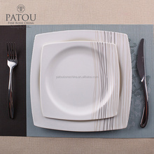 Bone china decal modern square western dinner set