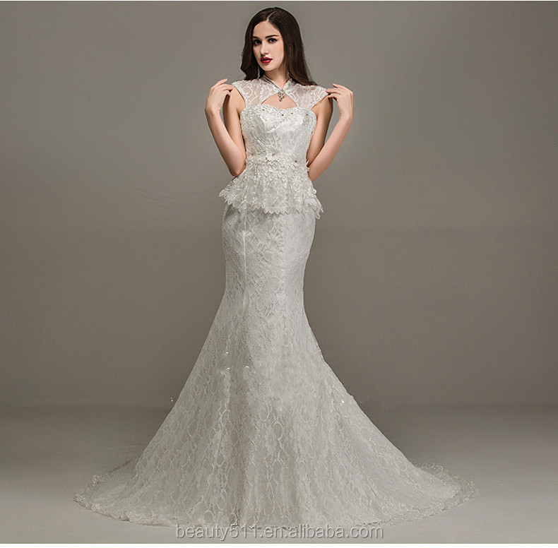 Modern High Collar Sleeveless Floor-length Mermaid Lace wedding dresses WD1647