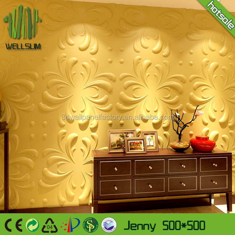 Wellsum Durable Living Room TV Background Interior Decorative Bamboo fiber Wallpanel Embossed 3D White Wall Panel