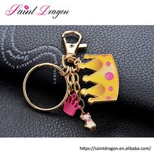 2017 customized rubber keychain cute crown pendant key chain alibaba wholeslae
