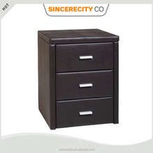 Modern Bedroom furniture, Faux leather 3 drawer Nightstand, PU bedside table