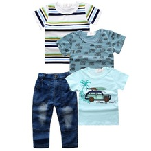 2019 new hot selling European car pattern cartoon tshirt denim jeans four-piece <strong>children</strong> baby boy clothing <strong>sets</strong>