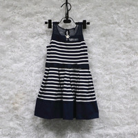 2016 summer boutique child girl stripe print lace sleeveless o neck shirt dres princess dress kids girl one piece dress
