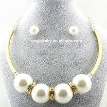 SSS500080 New Arrival Gold Plated Stainless Steel Choker Necklace with Earrings Pearl Jewelry Set
