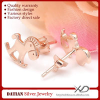 XD XE012 925 Sterling Silver Horse Animal Shaped Earrings